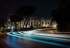 Roman Colosseum at night, Rome, Italy. stock photo