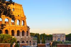 Roman Colosseum ou Coliseo em Roma, Itália Flavian Amphitheatre imagens de stock