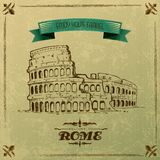 Roman Colosseum para o cartaz retro do curso Imagem de Stock