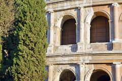 The Roman Colosseum, a place where gladiators fought as well as being a venue for public entertainment, Rome. Italy royalty free stock image