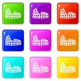 Roman Colosseum set 9. Roman Colosseum icons of 9 color set isolated vector illustration Royalty Free Stock Images