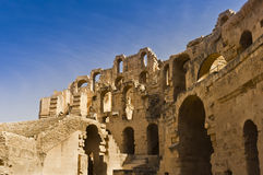 Roman Colosseum in Tunisia. Ruins Royalty Free Stock Photo