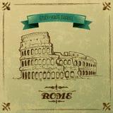 Roman Colosseum voor Retro Reisaffiche Stock Afbeelding