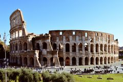 Roman Colosseum, With Tourists Royalty Free Stock Photo