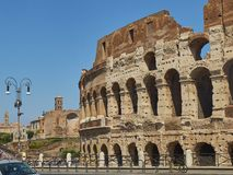 The roman Colosseum, View from Via Celio Vibenna. Lazio. Stock Image