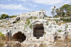 Roman columbarium, Neapolis of Siracusa Stock Photos
