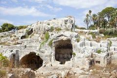 Roman columbarium, Neapolis van Siracusa Stock Foto's