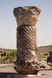 Roman column. A broken column in the roman ruins of segobriga (Spain Royalty Free Stock Photo