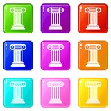 Roman column icons 9 set. Roman column icons of 9 color set isolated vector illustration Royalty Free Stock Photo