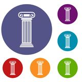 Roman column icons set. In flat circle reb, blue and green color for web Royalty Free Stock Photo