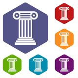 Roman column icons set. Rhombus in different colors isolated on white background Stock Image