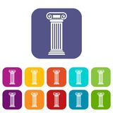 Roman column icons set. Vector illustration in flat style in colors red, blue, green, and other Royalty Free Stock Photos