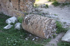 Roman Column. Remains of an ancient broken Roman column, Palatine hill, Rome, Italy Stock Images