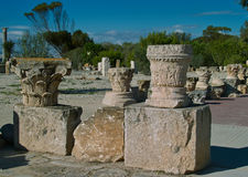 Roman Column Remnant. Roman column on Byrsa Hill in Carthage, Tunisia Remnants of ancient Corinthian columns and their capitals at the Unesco heritage site of Royalty Free Stock Photography