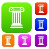 Roman column set collection. Roman column set icon in different colors isolated vector illustration. Premium collection Royalty Free Stock Images
