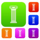 Roman column set collection. Roman column set icon in different colors isolated vector illustration. Premium collection Royalty Free Stock Photography
