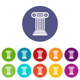 Roman column set icons. In different colors isolated on white background Stock Photo