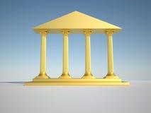 Roman columns. Low angle of golden roman building - 3d render