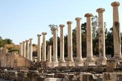 Roman Columns. Ancient roman columns at Beit Shean, Israel stock photos