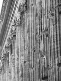 Roman columns. Detail of ancient Roman columns in b/n Stock Images