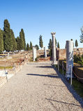 Roman columns. Roman archaeological remains next to outdoor Italica located in the Spanish province of Seville, ypu can see some columns royalty free stock photos