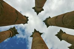 Roman columns against the sky Stock Photo