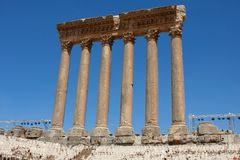 Roman columns at Baalbeck Royalty Free Stock Images