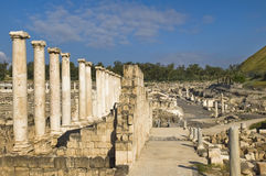 Roman columns ,  Beit Shean , Israel Royalty Free Stock Photography