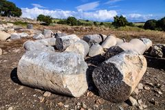 Roman columns at the castle Castabala, Turkey Stock Image