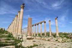Roman Columns dans la ville jordanienne de Jerash (Gerasa de l'antiquité), Jordanie Photographie stock libre de droits