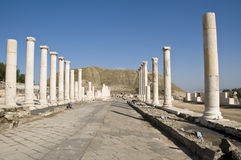 Roman columns in Israel. Roman columns in the city of Beit She'an, Israel Royalty Free Stock Images