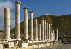 Roman columns in Israel Beit Shean Royalty Free Stock Photography