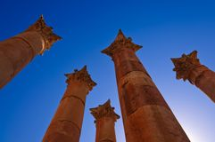 Roman columns in Jerash Royalty Free Stock Photo