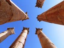 Roman columns. In Jerash, Jordan Royalty Free Stock Images