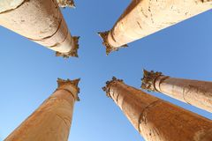 Roman Columns at Jerash Royalty Free Stock Image