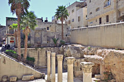 Roman Columns in Jerusalem. The old city of Jerusalem, Roman Columns in Jerusalem Cardo Royalty Free Stock Photography
