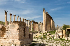 Roman Columns in the Jordanian city of Jerash (Gerasa of Antiquity), capital and largest city of Jerash Governorate, Jordan Royalty Free Stock Images