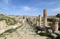 Roman Columns in the Jordanian city of Jerash (Gerasa of Antiquity), capital and largest city of Jerash Governorate, Jordan Royalty Free Stock Photography