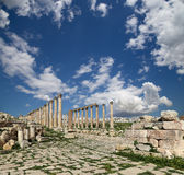 Roman Columns in the Jordanian city of Jerash (Gerasa of Antiquity), capital and largest city of Jerash Governorate, Jordan Stock Images