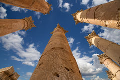 Roman Columns in in the Jordanian city of Jerash (Gerasa of Antiquity) Royalty Free Stock Photography