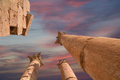 Roman Columns in in the Jordanian city of Jerash (Gerasa of Antiquity) Royalty Free Stock Image