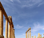 Roman Columns in the Jordanian city of Jerash (Gerasa of Antiquity) Royalty Free Stock Images