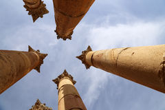 Roman Columns in the Jordanian city of Jerash (Gerasa of Antiquity) Stock Image