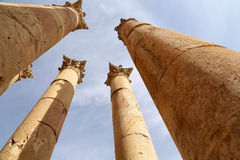 Roman Columns in the Jordanian city of Jerash (Gerasa of Antiquity) Stock Images