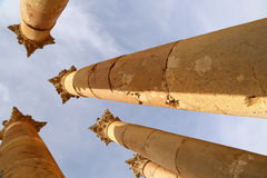 Roman Columns in the Jordanian city of Jerash (Gerasa of Antiquity) Stock Photography