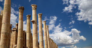 Roman Columns in the Jordanian city of Jerash (Gerasa of Antiquity),Jordan Stock Images