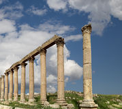 Roman Columns in the Jordanian city of Jerash (Gerasa of Antiquity), Jordan Royalty Free Stock Photography