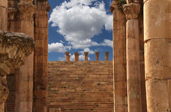 Roman Columns in the Jordanian city of Jerash, Jordan Royalty Free Stock Photos