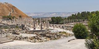 Roman Columns på Beit She 'parkerar i Israel royaltyfria foton