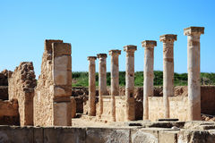Roman Columns. At the Paphos Archaelogical Park, Cyprus Royalty Free Stock Photography